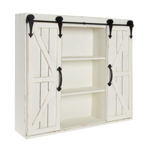 modern rustic farmhouse shabby-chic distressed artisanal wall storage cabinet floating accent