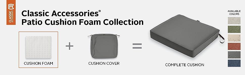 Classic Accessories Rectangular Patio Cushion Foam