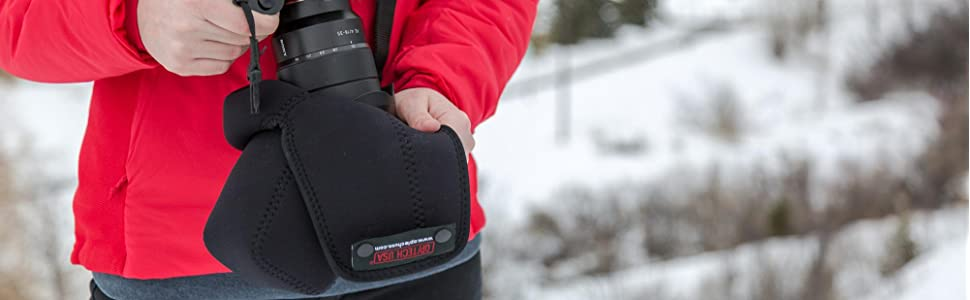 the Digital D pouch is made of soft durable neoprene and offers weather resistance in rain and snow