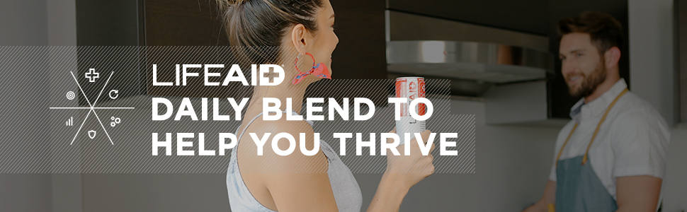 LIFEAID THRIVE DAILY BLEND LEMON SPICE CLEAN SUPPLEMENT LIFE HEALTHY ACTIVE TURMERIC BEVERAGE CO