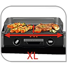 Tefal TG804D14 Barbecue /Électrique BBQ Family Flavor 2 en 1 de Table Grill Plancha Thermostat R/églable 2 Surfaces de Cuisson 2400W