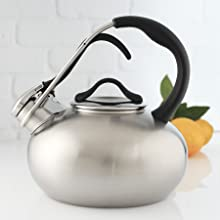 stainless steel whistling kettle pot boiler design style moma style kitchen ergonomic stay-cool tea
