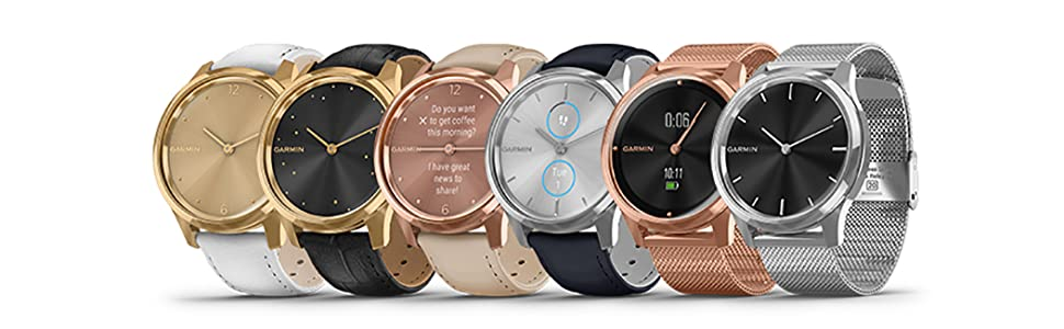 Garmin vívomove Luxe, Hybrid Smartwatch with Real Watch Hands and Hidden Color Touchscreen Displays, Silver with Silver Milanese Band