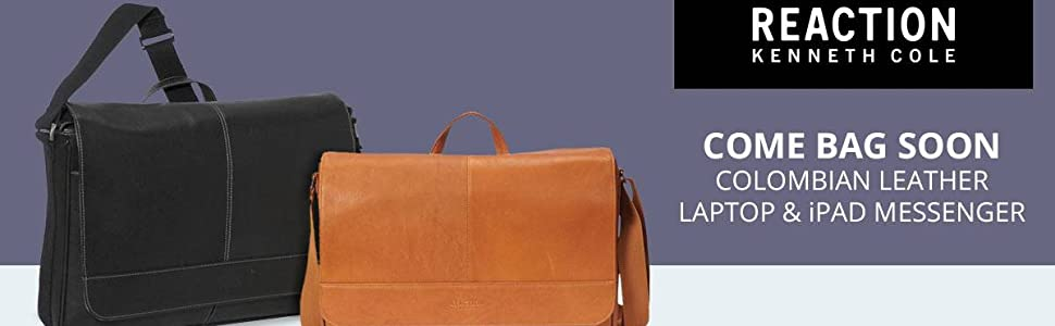 Leather Bag, Tablet, Laptop, Messenger, Kenneth Cole, RFID, Crossbody, Business, Travel