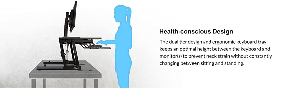 Rosewill Height Adjustable Sit/Stand Desk Computer Riser RDR10, Health-conscious design