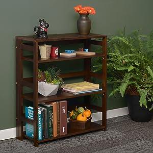 bookcase, dark brown, mocha walnut, flip flop, folding bookcase, open shelves