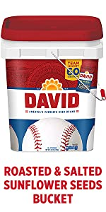 DAVIDs salted and roasted sunflower seeds in a bucket