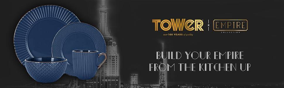 Tower T867002MNB Empire Geschirr-Set 16-teilig Mitternachtsblau und Messing Steingut