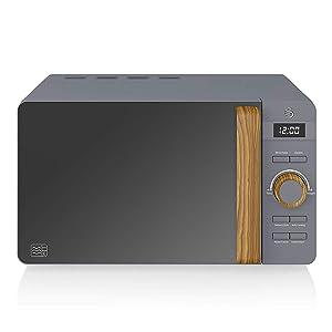 microwave, grey, stylish, modern, wood, bamboo