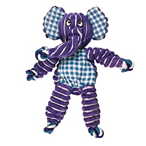 KONG; Elephant; purple; ribbed; knots tug toy; chew; toy; squeak;