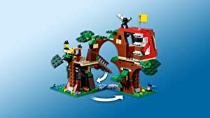 Fold out to create two treehouses with a connecting bridge