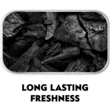 A picture of charcoal which says long lasting freshness