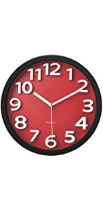 "Wall Clock with Raised Contrasting Numerals and Silent Sweep Quiet Movement, 13"", Red/Black"