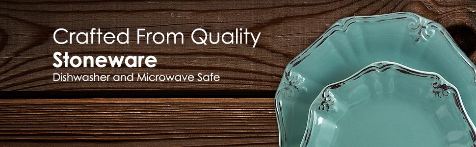 turquoise scalloped embossed trim stoneware dinnerware dish set for 4 microwave dishwasher safe