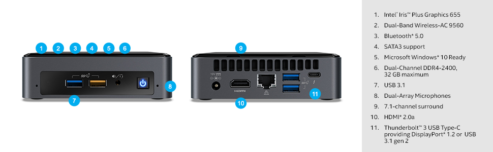 Intel NUC 8 Mainstream Kit (NUC8i5BEK) - Core i5, Short, Add't Components  Needed