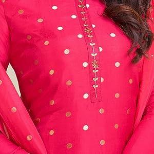 Rajnandini Magenta chanderi silk Printed Semi-Stitched Salwar Suit Material