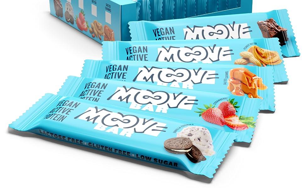 Moove Bar - Barrita Vegana de Proteínas - Sabor a Double brownie - (12 x 40g)