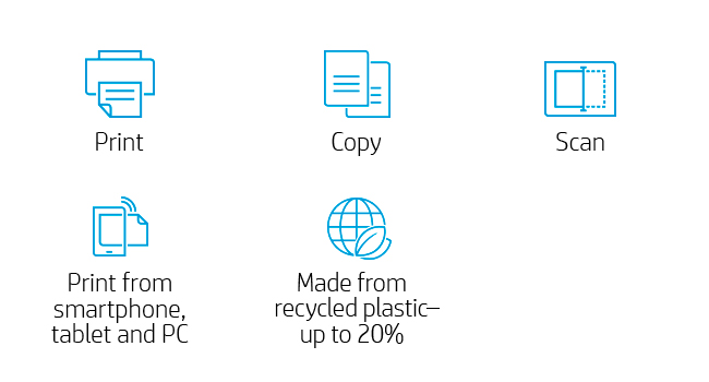 print copy scan mobile printing recycled plastic