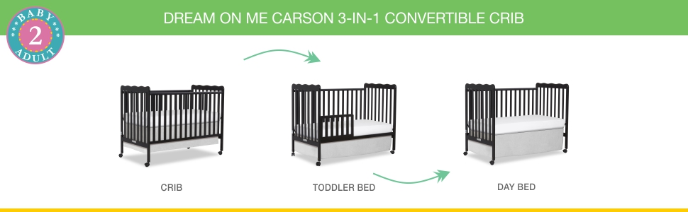 dream on me, cribs, full size, standard, 4 in 1 convertible, toddler bed, day bed, carson classic