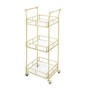 gold cart;gold bar cart;mobile gold cart;gold metal cart;;3-tier bar cart
