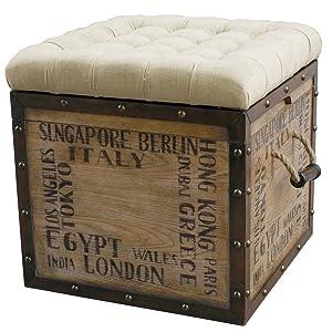 Superbe Storage Ottoman,Crate Ottoman,Tufted Ottoman,Crate Storage,Stencil Crate, Rustic