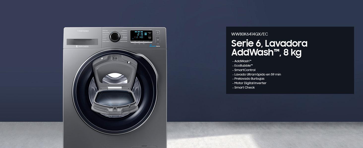 Samsung - Lavadora Addwash™ Serie 6 8kg WW80K6414QX, A+++, Carga ...