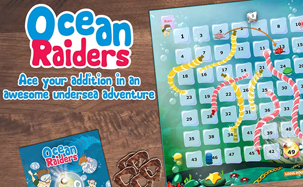 Ocean Raiders math board game addition for kids age 5 and up