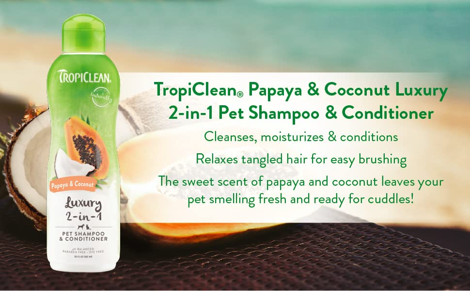 tropiclean papaya and coconut luxury 2-in-1 pet shampoo & conditioner sweet scent