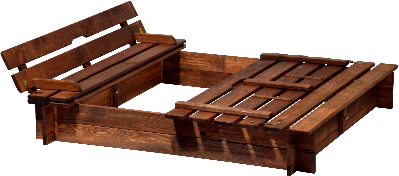 dobar 94360FSC - Sandkasten Holz mit Deckel mit Sitzbank