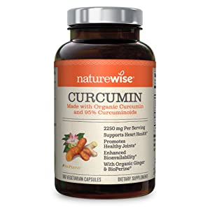 NatureWise Curcumin Turmeric 1650mg with 95% Curcuminoids & BioPerine Black Pepper Extract, Advanced