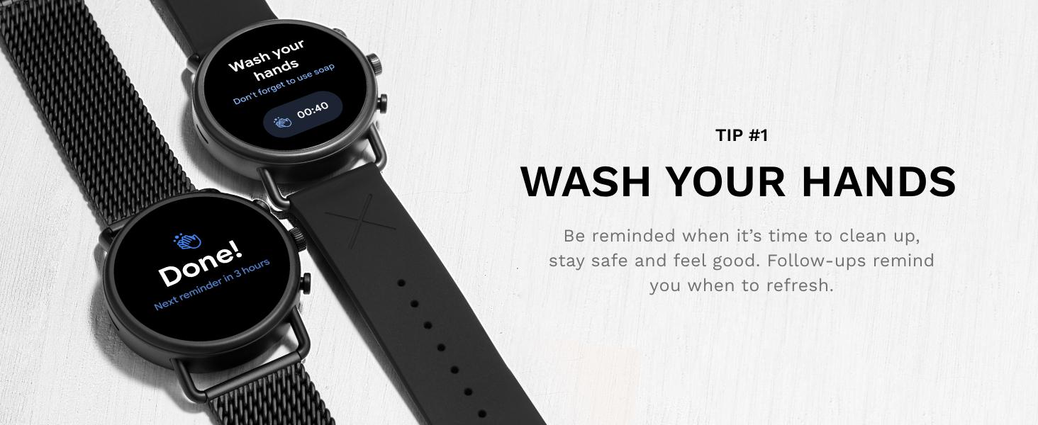 Skagen falster 3 smartwatch hand washing timer, reminders, notifications