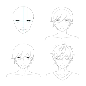 a step by step sketch of an anime face being drawn