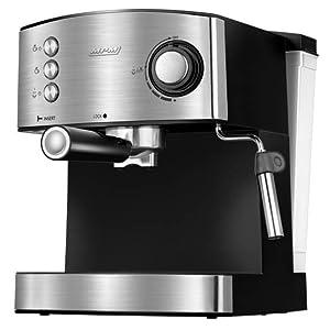 MPM MKW-06M Cafetera Express 20 Bares, para Realizar café Espresso y Cappuccino, vaporizador para espumar Leche, calienta Tazas,Acabado Acero Inoxidable, depósito de Agua 1,7 L Desmontable, 850W: Amazon.es: Hogar