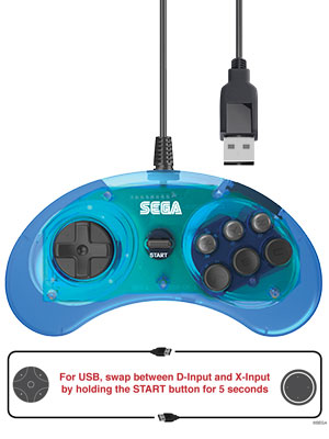 6 button clear blue