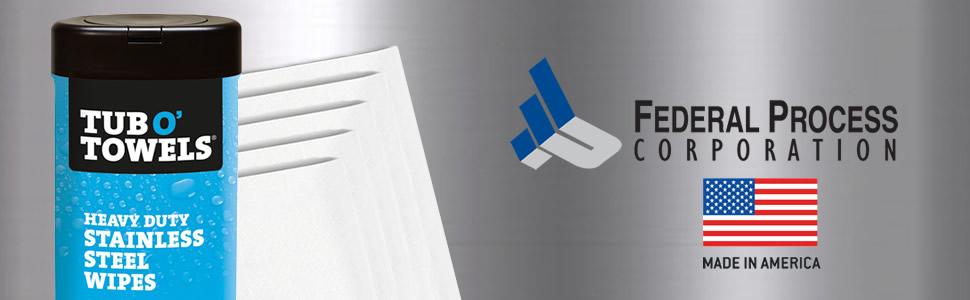 Tub O' Towels Heavy Duty Cleaning Wipes, Stainless Steel Cleaning Wipes, Stainless Steel Cleaner