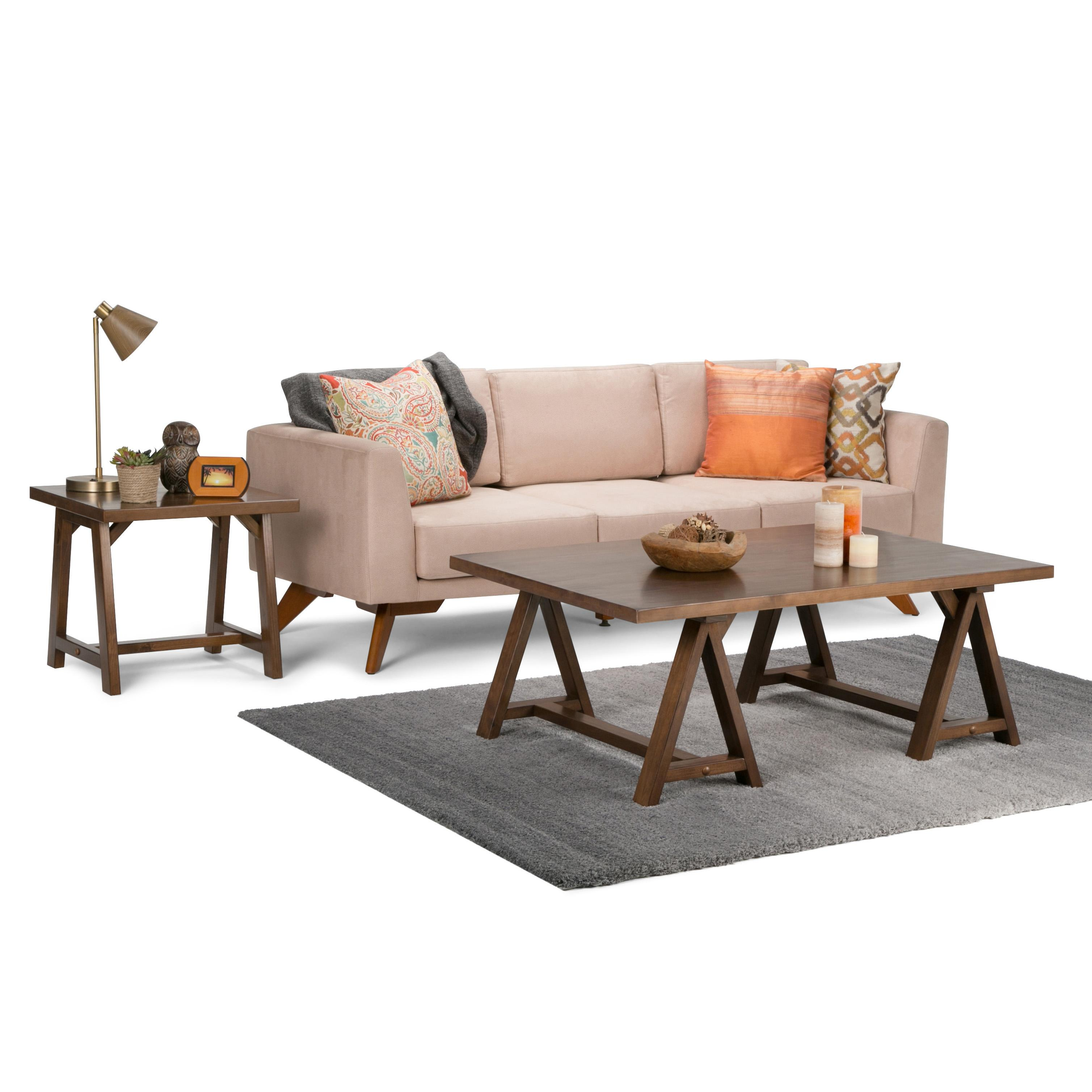 Simpli home sawhorse solid wood console sofa for Epl table 99 00