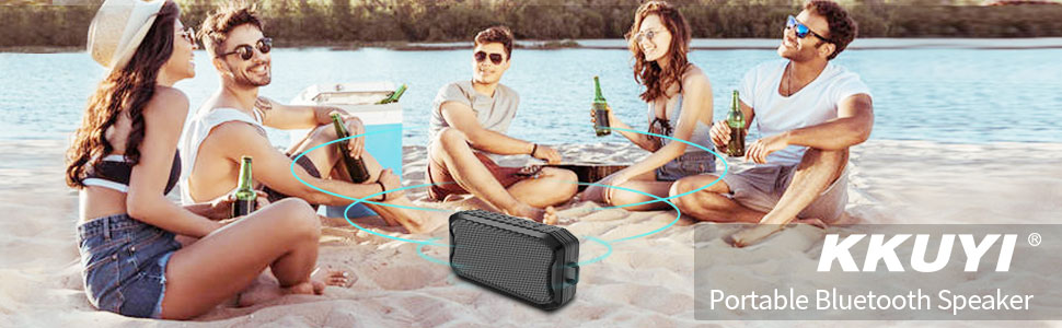 Bluetooth Speaker, KKUYI Portable wireless speaker, Loud Stereo Sound, 1200mAh Battery, IPX7 Waterproof Speaker for Home, Office, Party, Beach, Shower