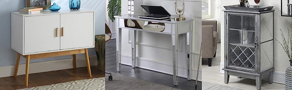 scandinavian modern hutch console side table desk bar cabinet mirrored