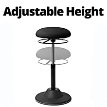Adjustable  Height on the  Seville Classics airLIFT 360 Wobble Sit-Stand Adjustable Ergonomic Active