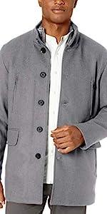Wool Twill Top Coat with Set in Bib