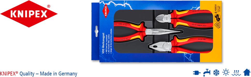 KNIPEX 00 20 16 Estuche con alicates de electr/ónica para trabajar con componentes electr/ónicos