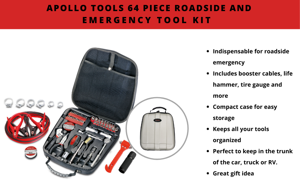 64 Piece Roadside and Emergency Tool Kit apollo tools car tool set for emergency roadside