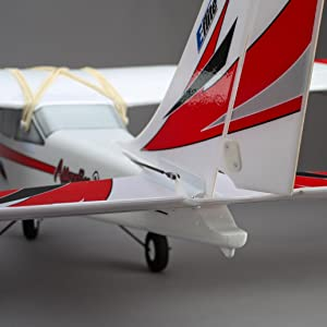 Rear view of Apprentice S 15e RC airplane showing durable foam construction
