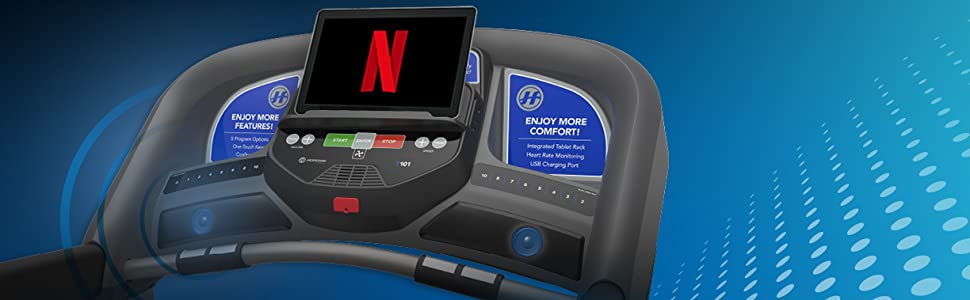 Smart Treadmill by Horizon Fitness. Stream Media and Fitness Classes. Bluetooth Connected Treadmill.