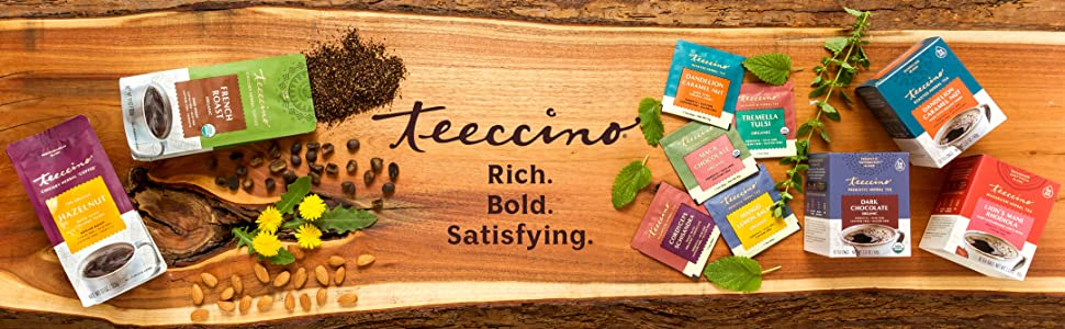 Teeccino Herbal Coffees and Roasted Herbal Teas are caffeine-free, acid-free, and prebiotic.