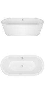 "Empava 59"" Freestanding Acrylic Soaking SPA Tub Modern Stand Alone Bathtubs"