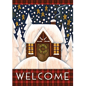 winter;welcome;greeting;snow;snowy;snowing;cabin;cute;fun;beautiful;lodge;woods;forest;star;sky