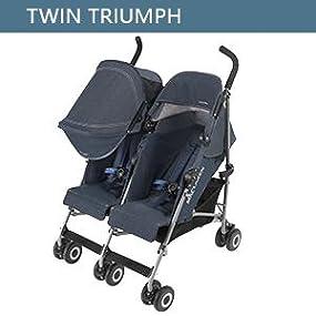 Maclaren Twin Triumph Silla de paseo doble - ligera, de los 6 meses hasta los 50kg, encaja a través de la mayoría de las puertas, Capota extensible ...
