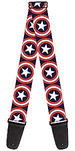Captain America Shield Logo Adamantium Acoustic Electric Guitar Strap Marvel Steve Rodgers