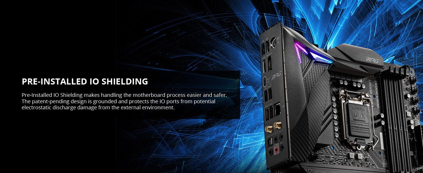 msi, mpg z490 gaming carbon wifi, preinstalled io shielding, rear io cover, io shield, integrated